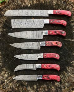 Custom Damascus Kitchen Knives - Custom Damascus Kitchen Knives, Professional Kitchen Knives Custom Made Damascus Steel Pcs Of Professional Utility Chef Kitchen Knife Set with Chopper Cleaver Black Horn at