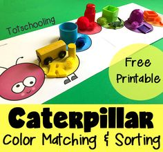 FREE color matching and sorting activity for toddlers and preschoolers featuring a caterpillar. Kids can place colored objects on top to match or sort the colors. Great Spring activity or to go along with Eric Carle's book Very Hungry Caterpillar.
