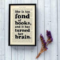 Literary Gift 'too fond of books' Little Women by BookishlyUK