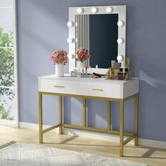 Bedroom Vanity Set, Vanity Table Set, Vanity Set With Mirror, Bedroom Sets, White Bedroom, White Vanity Desk With Drawers, Bedroom Makeup Vanity, Make Up Desk Vanity, Modern Vanity Table