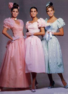 80s-90s-supermodels:  House Of Bianchi, 1987Models : Yasmin Le Bon, Renee Simonsen & Unknown