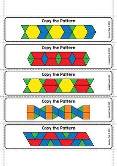 Fine Motor Printable Activities for October Pattern Worksheets For Kindergarten, Patterning Kindergarten, Kindergarten Math, Preschool Learning Activities, Classroom Activities, Teaching Math, Numeracy Activities, Pattern Block Templates, Pattern Blocks