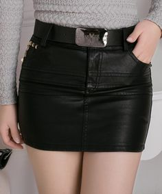EC04429 Rivets fashion slim plus velvet thick PU short skirt