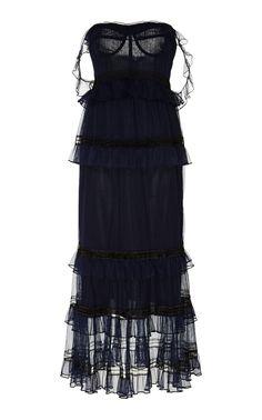 Jonathan Simkhai FW 2018 Tulle Plisse Strapless Bustier Dress    Moda Operandi