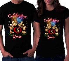 Couple Love T Shirts Disney Celebrating Years Mickey Mouse Shirt Minnie Tees Forever Inlove By
