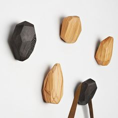 3 Stone Wood Hangers Olive  by Slow Design