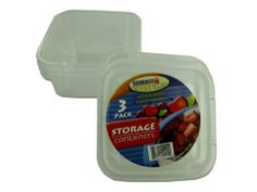 """3 Pc Square Container Set Case Pack 48 - 701762 by DDI. $61.32. Allof theproductsshowcased throughoutare100%OriginalBrand Names.. Please refer to the title for the exact description of the item. 100% SATISFACTION GUARANTEED. A 3 pack of square, recyclable clear plastic containers with lids.  Lid measures 4"""""""" x 4"""""""" and container height is 1 5/8"""""""".  The set comes shrink wrapped with UPC code label."""" Case Pack 48 Please note: If there is a color/size/type option,..."""