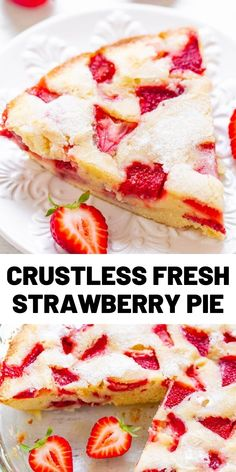 This Fresh Strawberry Pie is somewhere in between a pie, cake, and blondies. It's so easy to make and everyone loves this recipe! Fresh Strawberry Pie, Strawberry Dessert Recipes, Fruit Recipes, Baking Recipes, Sweet Recipes, Cake Recipes, Recipies, Just Desserts, Delicious Desserts