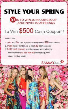 Win up to $500 cash coupons! Join Our Group  & Invite Your Friends! Pin Your Style from sammydress.com to the group!