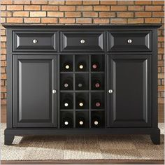 Crosley Furniture Newport Buffet Server / Sideboard Cabinet in Black - Crosley raises the bar in home audio electronics with the introduction of the Crosley AroundSound® TV Stand. Designed with the home theater enthusiast in mind, this single solution offers a high definition sound experience cleverly built into a distinctive Crosley Media Cabinet. This extraordinary pairing is truly where form meets function.