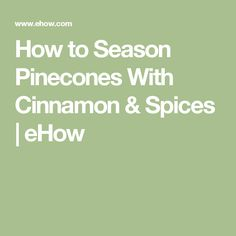 How to Season Pinecones With Cinnamon & Spices | eHow