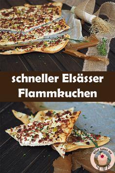 Leckerer herzhafter Snack: Elsässer Flammkuchen mit Schinkenspeck und Frühlingszwiebeln. Schneller, knuspriger Teig ohne Gehzeiten!