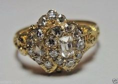 Victorian Diamond Engagement Ring 18K Yellow Gold Ring Size 7.75 UK-P EGL USA  #SolitairewithAccents