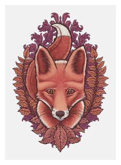 Autumn Fox by Tom Hamel - would make an amazing tattoo.