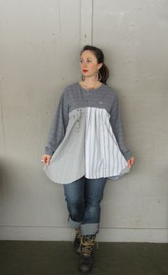 Large X Large upcycled Tunic dress / by lillienoradrygoods on Etsy