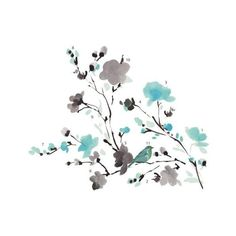 York Wallcoverings RMK2687SCS Blossom WaterColor Bird Branch Peel and (£9.59) ❤ liked on Polyvore featuring home, home decor, wall art, multi, wall decals, wallpaper, bird wall art, flower wall decals, branch wall decal and bird wall stickers