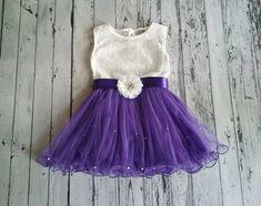 Purple flower girl dress,purple tulle dress,girls purple dress,white lace dress,Party dress,Birthday dress,rustic flower girl dress,wedding