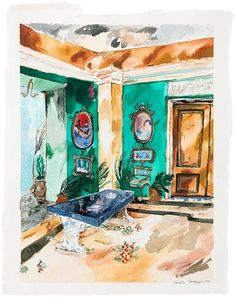 Visual artist Karoliina Hellberg paints interiors, memories and presences. In her fascinating paintings one can escape reality. Leopard Room, Burning House, Acrylic Painting On Paper, Rainy Night, Windy Day, 2017 Photos, Henri Matisse, Nocturne, Art And Architecture