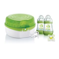 MAM Microwave Steam Steriliser, Comes with MAM Easy Start Self Sterilising Anti-Colic Baby Bottles and Baby Soother, Bottle Steriliser for Babies Best Baby Bottles, Baby Bottle Sterilizer, Four Micro Onde, Breastfeeding And Pumping, Baby Supplies, Bottle Feeding, Baby Feeding, Water, Cleaning