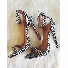 "Stunning Polka Dot Heels NIB (New in Box), never worn, 5"" heel. Ankle strap, stiletto style. People Magazine JustFab Pick. NO PP NO TRADES. JustFab Shoes Heels"