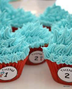 Dr Seuss 'Cat in the hat' cupcakes, Thing 1 and Thing 2