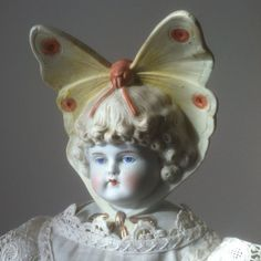 RARE Size Antique Butterfly Bonnet Parian China Bisque German Head Doll | eBay