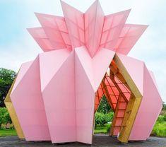 Studio Morison construct origami-like pink pavilion at the National Trust estate, Berrington Hall Folding Architecture, Pavilion Architecture, Interior Architecture, Landscape Architecture, Sustainable Architecture, Residential Architecture, Contemporary Architecture, Interior Design, Graphic