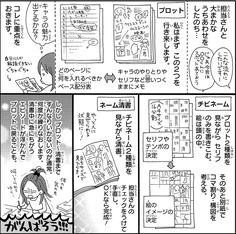 藤原ゆか先生 第1時間目「プロット&ネーム」 Manga Pages, Illustrations And Posters, Drawing Tips, Storyboard, Manga Art, Bullet Journal, Comics, School, Drawings