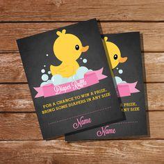 Chalkboard Rubber Duck Baby Shower Diaper by SunshineParties on #Etsy.......love these! #ChalkboardDuckDiaperRaffle #RubberDuckGirlsDiaperRaffle