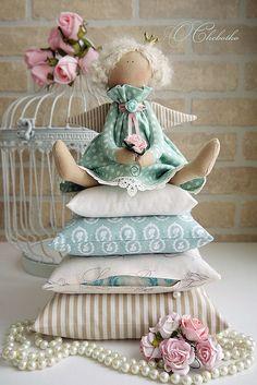 Куклы Тильды ручной работы. Ярмарка Мастеров - ручная работа. Купить Принцесса на горошине Мята. Handmade. Мятный, горошек, бежевый