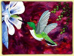 Flutter - hummingbirds & columbine Annette Kennedy