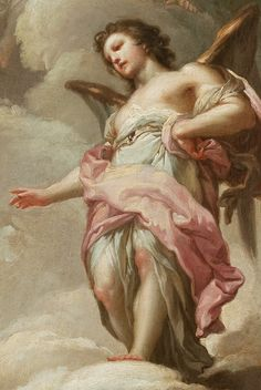 Francisco Bayeu y Subías. Detail from Abraham and the Three Angels, 1771 Angels Among Us, Angels And Demons, Seraph Angel, Renaissance Kunst, Angel Aesthetic, Guardian Angels, Classical Art, Angel Art, Sacred Art