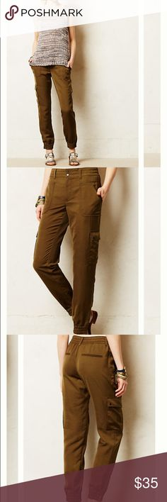 Anthropologie Elevenses Aubrey pants Silky (polyester) jogger cargos by Elevenses for Anthropologie. The color is in between a green and brown. EUC. Anthropologie Pants