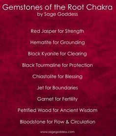 Gems of the Root Chakra by Sage Goddess crystal healing gemstone magic