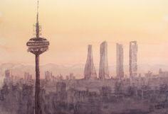 Acuarela probando la perspectiva atmosférica con un skyline de Madrid inventado - Madrid skyline. Watercolor testing the atmospheric perspective with an invented skyline of Madrid - Madrid skyline. HMZEN'14