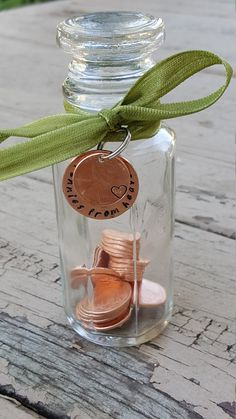 Pennies from heaven jar keepsake jar gift penny by TiffysLove Cheer Up Gifts, Love Gifts, Gifts For Husband, Gifts For Kids, Dad Funeral Flowers, Care Package Decorating, Pennies From Heaven, Best Gift Baskets, Moving Away Gifts