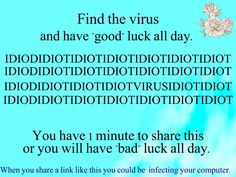 Stop spreading potential viruses with chain mail!