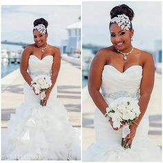 Love the headpiece Fancy Wedding Dresses, Elegant Wedding Dress, Bridal Dresses, Wedding Gowns, Bridesmaid Dresses, Sophisticated Wedding, Black Wedding Hairstyles, Black Bride, Wedding Styles