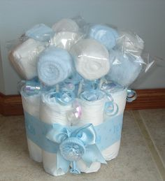 It's a boy mini diaper cake with washcloth lollipops. $15.00, via Etsy.