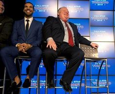 Canadian recording artist Drake, left, and Toronto Mayor Rob Ford listen to the announcement that the Toronto Raptors will host the 2016 NBA...