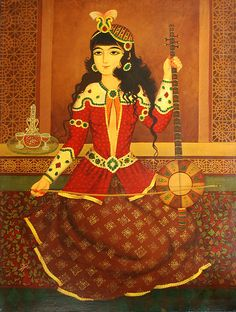 """Antique Persian Qajar Oil painting on canvas    Circa 1900   Size:30"""" x 22"""""""