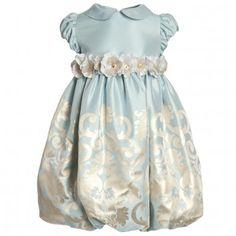 Lesy Blue & Gold Satin Bubble Dress at Childrensalon.com