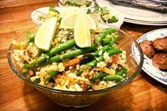 Thai-ris med grønt og æg