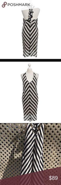 Streneese blue dress Strenesse blue stripe silk dress black and white racer back strenesse blue Dresses Midi