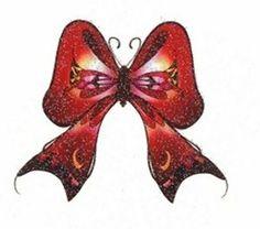 Ribbon Butterfly Glitter Temporaray Tattoo by Tattoo Fun. $4.95. Red glitter butterfly temporary tattoo shaped like ribbon. Butterflies. Sheet size 2 3/4x 4. Tattoo size 2 1/2x 2 1/2.