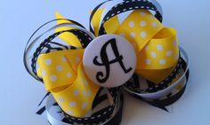 Monogrammed Hair Bow- yellow/black/white