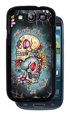 Laugh Now Cry Later Sugar Skulls - Black Protective Rubber Cover Samsung Galaxy S3 i9300. Has precise cut-outs to allow full access to all the phone's features. Watermark will not be printed on case. Dye transfer process results in a permanent image. Rubber snap-on cover. BEWARE OF BOOTLEGGERS: Only purchase new product with Inked Cases as seller.
