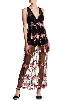 Image of Jealous Tomato Mesh Floral Embroidery Romper