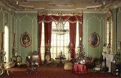 """English Drawing Room of the Victorian Period, 1840–70.   As shown in 1"""" scale in the Thorne Miniature Rooms at the Art Institute of Chicago."""