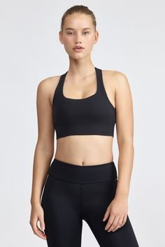 <p>This medium support bralette from Beyond Yoga features back cut-out detail and removable bra p...